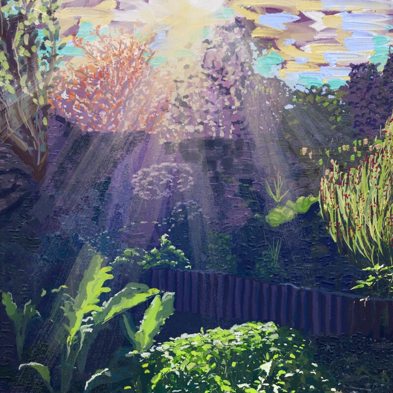 Painting garden with sunshine