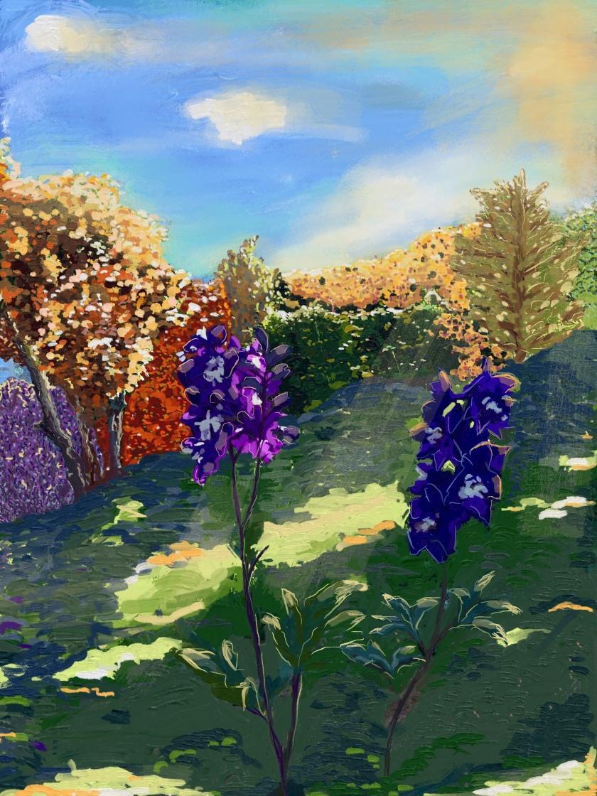 Two flowers in a garden