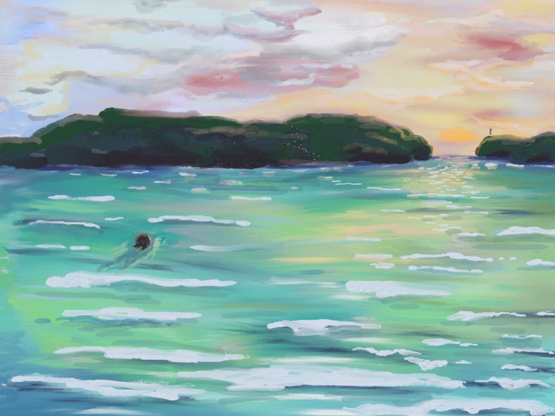 Woman swimming in a bay